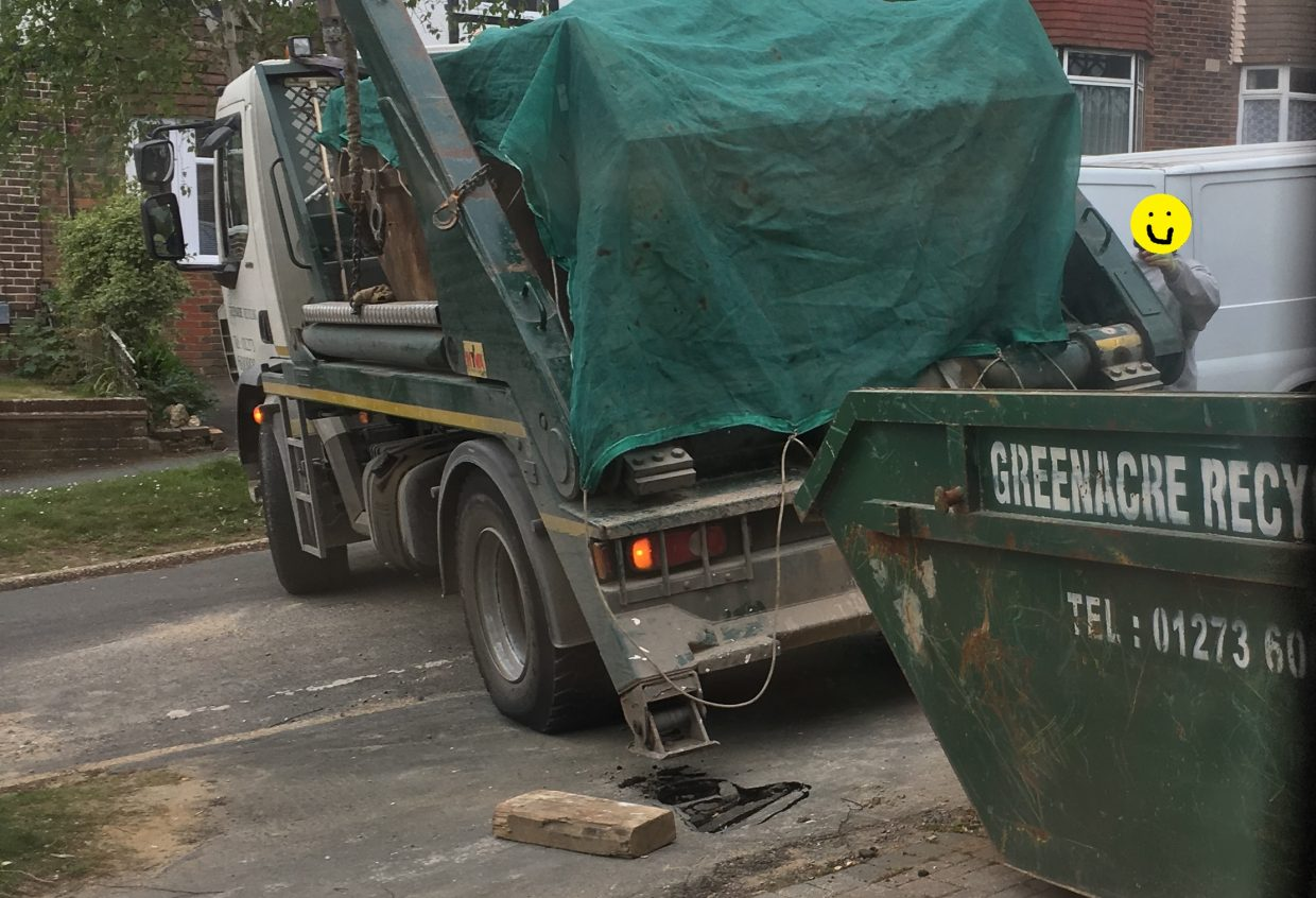 overloaded skip = collasped pavement.